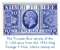 The Prussian Blue variety of the 2 1/2d value from the 1935 King George V Silver Jubilee stamp set