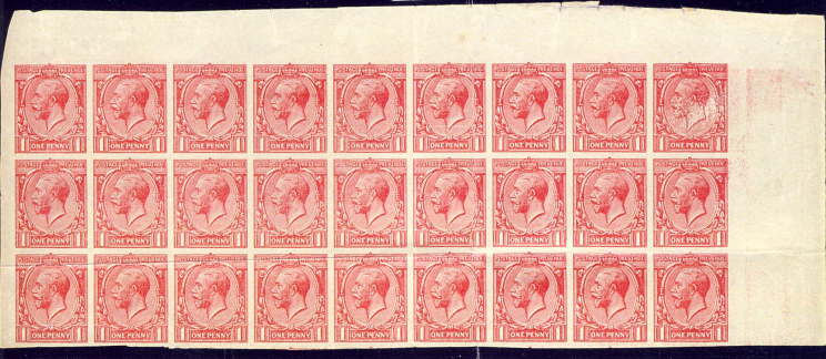 Block of 27 1d George V profile head stamps